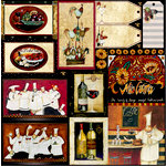 PJK Designs - Cookbookin' - Gourmet Holiday Collection - 12 x 12 Paper - La Dolce Vita, CLEARANCE