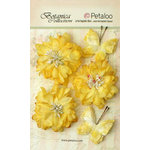 Petaloo - Botanica Collection - Floral Embellishments - Mums and Butterflies -Soft Yellow