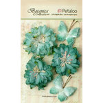 Petaloo - Botanica Collection - Floral Embellishments - Mums and Butterflies - Teal