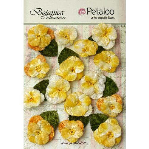 Petaloo - Botanica Collection - Floral Embellishments - Velvet Pansies - Amber