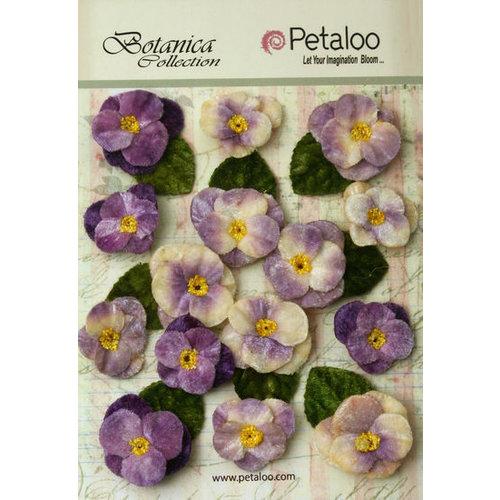 Petaloo - Botanica Collection - Floral Embellishments - Velvet Pansies - Lavender and Purple