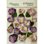 Petaloo - Botanica Collection - Floral Embellishments - Velvet Pansies - Lavender and Purple
