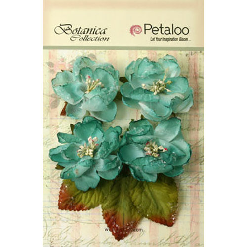 Petaloo - Botanica Collection - Floral Embellishments - Sugared Blooms - Teal