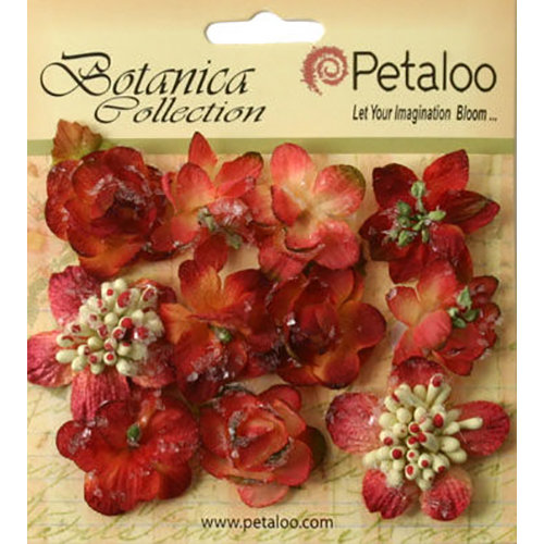 Petaloo - Botanica Collection - Floral Embellishments - Sugared Minis - Burgundy