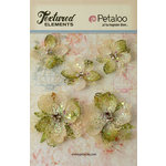 Petaloo - Textured Elements Collection - Floral Embellishments - Jeweled Flowers - Ivory