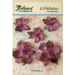 Petaloo - Textured Elements Collection - Floral Embellishments - Jeweled Flowers - Lavender