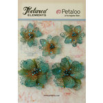 Petaloo - Textured Elements Collection - Floral Embellishments - Jeweled Flowers - Teal
