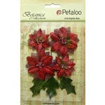 Petaloo - Botanica Collection - Floral Embellishments - Vintage Velvet Poinsettias - Red