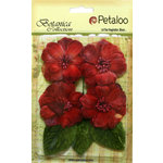 Petaloo - Botanica Collection - Floral Embellishments - Vintage Velvet Peonies - Red