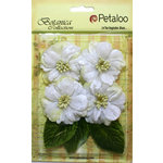 Petaloo - Botanica Collection - Floral Embellishments - Vintage Velvet Peonies - White
