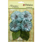 Petaloo - Botanica Collection - Floral Embellishments - Vintage Velvet Peonies - Teal