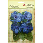 Petaloo - Botanica Collection - Floral Embellishments - Vintage Velvet Peonies - Blue