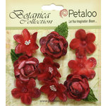Petaloo - Botanica Collection - Floral Embellishments - Vintage Velvet Minis - Red