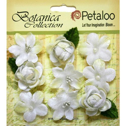 Petaloo - Botanica Collection - Floral Embellishments - Vintage Velvet Minis - White