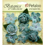 Petaloo - Botanica Collection - Floral Embellishments - Vintage Velvet Minis - Teal