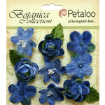 Petaloo - Botanica Collection - Floral Embellishments - Vintage Velvet Minis - Blue