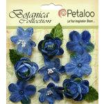 Petaloo - Botanica Collection - Floral Embellishments - Vintage Velvet Minis - Blue