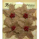Petaloo - Textured Elements Collection - Floral Embellishments - Burlap Poinsettias - Natural