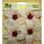 Petaloo - Textured Elements Collection - Floral Embellishments - Burlap Poinsettias - Ivory