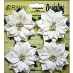 Petaloo - Botanica Collection - Floral Embellishments - Paper Poinsettias - Medium - White