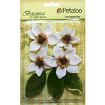Petaloo - Botanica Collection - Floral Embellishments - Vintage Velvet Magnolias - White