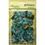 Petaloo - Botanica Collection - Floral Embellishments - Vintage Velvet Dogwoods - Teal
