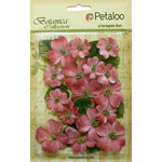 Petaloo - Botanica Collection - Floral Embellishments - Vintage Velvet Dogwoods - Antique Red