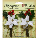 Petaloo - Botanica Collection - Floral Embellishments - Pine Picks with Poinsettias and Berries - White