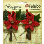 Petaloo - Botanica Collection - Floral Embellishments - Pine Picks with Poinsettias and Berries - Red