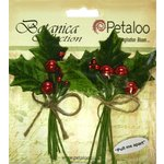 Petaloo - Botanica Collection - Floral Embellishments - Vintage Velvet Holly Leaf Picks