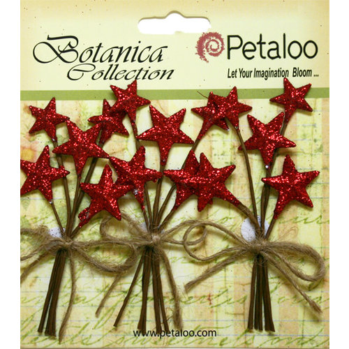 Petaloo - Botanica Collection - Floral Embellishments - Glitter Star Picks - Red