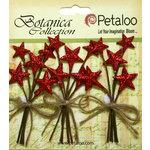 Petaloo - Botanica Collection - Floral Embellishments - Glitter Star Picks - Red