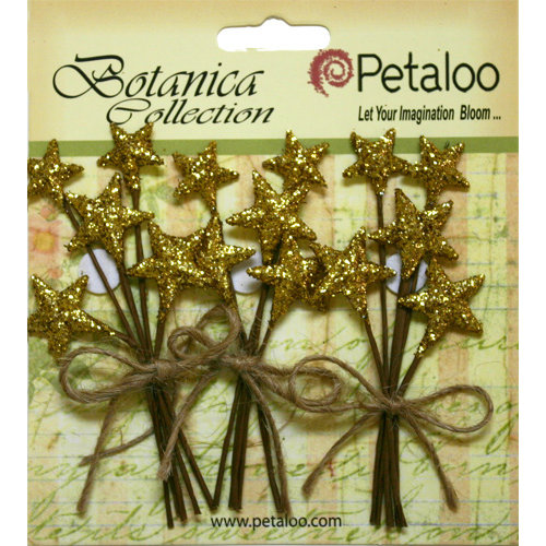 Petaloo - Botanica Collection - Floral Embellishments - Glitter Star Picks - Gold