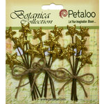 Petaloo - Botanica Collection - Floral Embellishments - Glitter Star Picks - Gold