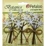 Petaloo - Botanica Collection - Floral Embellishments - Glitter Snowflake Picks - White