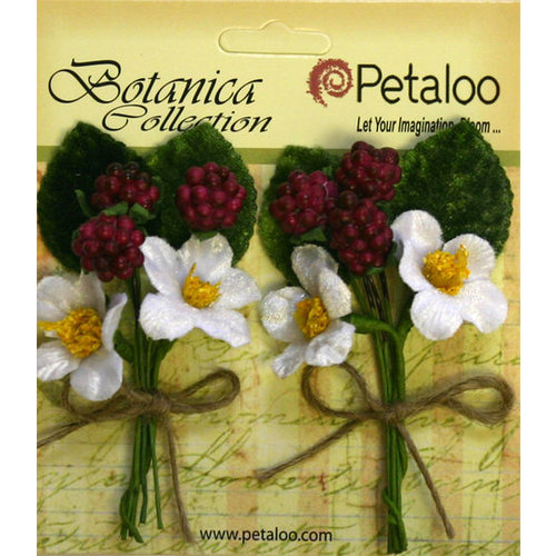 Petaloo - Botanica Collection - Floral Embellishments - Flowering Berry Picks - Fuchsia Berry