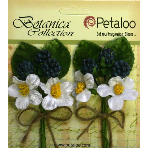 Petaloo - Botanica Collection - Floral Embellishments - Flowering Berry Picks - Blue Berry