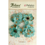 Petaloo - Textured Elements Collection - Floral Embellishments - Burlap Blossoms - Teal
