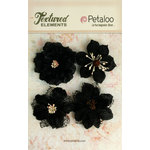 Petaloo - Textured Elements Collection - Floral Embellishments - Burlap Blossoms - Black
