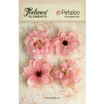 Petaloo - Textured Elements Collection - Floral Embellishments - Burlap Blossoms - Pink