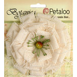 Petaloo - Textured Elements Collection - Floral Embellishments - Burlap Blossom - Large - Ivory