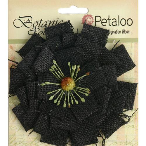 Petaloo - Textured Elements Collection - Floral Embellishments - Burlap Blossom - Large - Black