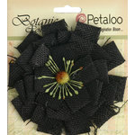 Petaloo - Textured Elements Collection - Floral Embellishments - Burlap Blossom - Large - Black