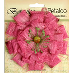 Petaloo - Textured Elements Collection - Floral Embellishments - Burlap Blossom - Large - Fuchsia