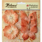 Petaloo - Burlap and Canvas Collection - Floral Embellishments - Burlap Butterflies and Blossoms - Apricot