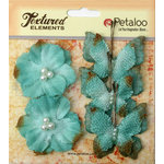 Petaloo - Burlap and Canvas Collection - Floral Embellishments - Burlap Butterflies and Blossoms - Teal