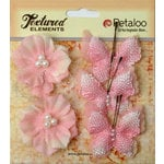 Petaloo - Burlap and Canvas Collection - Floral Embellishments - Burlap Butterflies and Blossoms - Pink