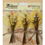 Petaloo - Burlap and Canvas Collection - Floral Embellishments - Burlap Picks - Yellow