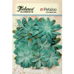 Petaloo - Burlap and Canvas Collection - Floral Embellishments - Daisy Flower Layers - Teal