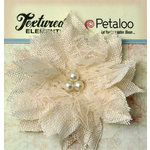 Petaloo - Burlap and Canvas Collection - Floral Embellishments - Burlap Birdsnest Flower - Ivory